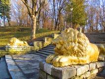 Львы на пути внутри к парку, Kamenets Podolskiy, Украине Стоковые Фото