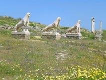 Львы Naxians, старых статуй льва и святилища на террасе львов, археологических раскопках Delos, Греции стоковое фото