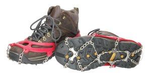 льдед ботинок обувает спайки стоковые изображения
