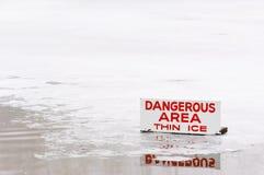 льдед зоны опасный утончает Стоковая Фотография RF