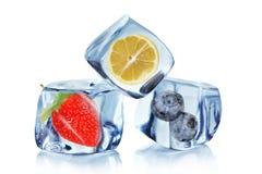 льдед плодоовощ кубиков Стоковые Фотографии RF