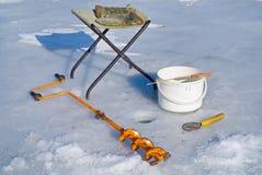 льдед рыболовства оборудования 4 Стоковое Изображение