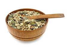 Льнен, тыква, сезам и семена подсолнуха здоровые Стоковые Фотографии RF