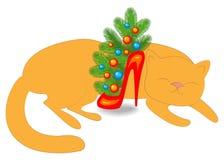 Любимец спит Около состава Нового Года s кота s, ветви ели в красном ботинке Рождественская елка украшенная с яркими шариками иллюстрация вектора