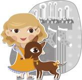 любимчик девушки собаки Стоковое Фото