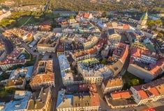 Люблин от взгляда глаза ` s птицы Ландшафт старого городка с воздухом, с видимым старым Судом короны Стоковое Фото