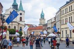 ЛЮБЛИН, ПОЛЬША 7-ое июля 2017 - центр города с UE сигнализирует стоковое изображение rf