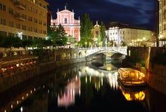 Любляна на ноче, Словении Стоковое Изображение RF