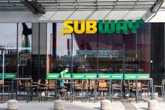 Любляна, Словения - 26 2 2019: Внешний взгляд ресторана Любляны Словении метро Оно одно из самого быстрого стоковые изображения