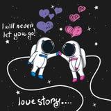 Любовная история астронавтов мальчика и девушки в космосе бесплатная иллюстрация