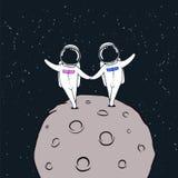 Любовная история астронавтов иллюстрация вектора