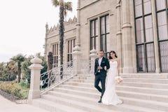 любовная история девушки сада мальчика целуя Фото свадьбы красивых нежных пар Стоковое Фото