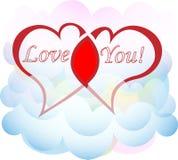2 любовника сердца в поздравительной открытке дня ` s валентинки облаков Стоковое Изображение RF