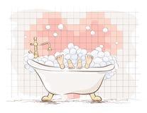 Любовники в ванне также вектор иллюстрации притяжки corel Стоковые Изображения RF