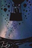 Любовники в воздушном шаре на ноче бесплатная иллюстрация