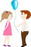 Любовники мальчик и девушка с воздушным шаром Стоковые Изображения RF