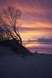 Любовники на заходе солнца побережья Стоковое фото RF
