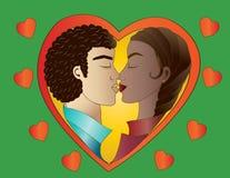Любовники на зеленой предпосылке иллюстрация штока
