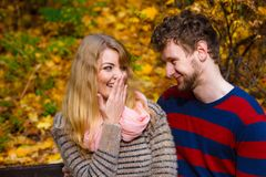 Любовники соединяют в парке осени на стенде Стоковое Изображение RF