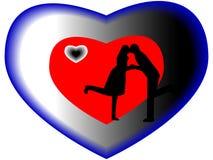 Любовники целуя силуэт в сердце Стоковые Изображения