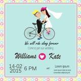 Любовник велосипеда соединяет приглашение свадьбы Стоковое Изображение