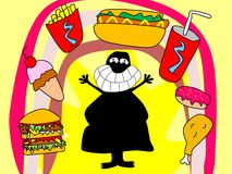 Любовник высококалорийной вредной пищи Стоковые Изображения RF