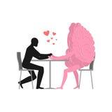 Любовник в кафе Человек и хот-дог сидят на таблице бесплатная иллюстрация