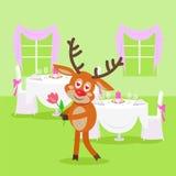 Любовник оленей в ресторане на предпосылке бесплатная иллюстрация