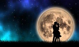 Любовник принимая на поле травы с полнолунием в красивой ночи иллюстрация штока