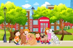 Любовник собаки в парке бесплатная иллюстрация