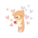 Любовное письмо плюшевого медвежонка Стоковое Изображение