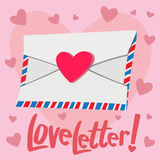 Любовное письмо с предпосылкой сердца Стоковое Изображение