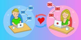 Любовные письма людей и женщин в социальных сетях вектор Стоковые Фото