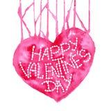 Любовь Валентайн дня приветствуя счастливое s карточки Сердце акварели красное на белой предпосылке элемент конструкции ваш Винта Стоковое фото RF