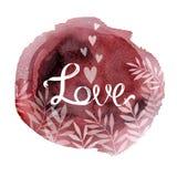 Любовь для акварели круга помаркой дня Святого Валентина и белых заводов бесплатная иллюстрация