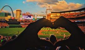 ЛЮБОВЬ для кардинального бейсбола стоковое изображение rf