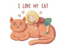 Любовь маленькой девочки и обнять ее большого красного кота, она счастлива, но неудовлетворяют ее кот Я люблю мой текст руки кота иллюстрация штока
