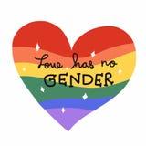 Любовь не имеет никакой род, искру сердца радуги для иллюстрации LGBT бесплатная иллюстрация