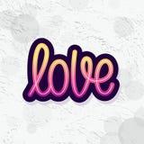 Любовь Отдельное слово Современный текст каллиграфии monoline Элемент на счастливый день валентинки также вектор иллюстрации прит иллюстрация вектора