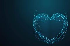 любовь, сферы сетки вектора от летящих обломков Тонкая линия концепция Поли провода конспекта низкая, полигональная сетка рамки п иллюстрация штока