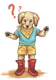 Любознательная иллюстрация щенка золотого Retriever Стоковые Изображения