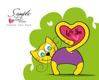 Любящая карточка кота Стоковая Фотография