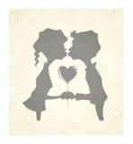 Любящие дети с сердцем иллюстрация вектора