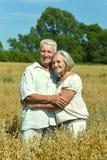 Любящие зрелые пары в поле Стоковое Изображение