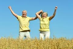 Любящие зрелые пары в поле Стоковые Фотографии RF