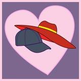 Любящие крышка и шляпа пар Стоковое Изображение RF