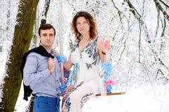 Любящие пары в лесе зимы Стоковые Изображения RF
