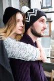 Любящие пары в уютном маяке Стоковая Фотография RF