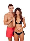 Любящие пары в swimwear стоковые изображения rf