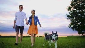 Любящие пары играя с собакой на пляже Концепция о влюбленности, животном и образе жизни сток-видео